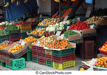 Fruits and vegetables market - Fresh fruits and vegetables...