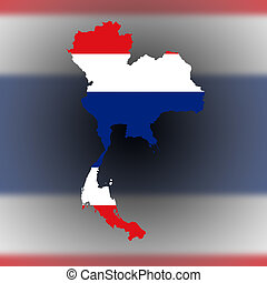 Map of Thailand filled with flag