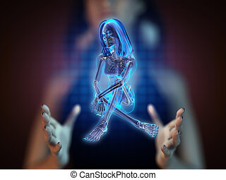 cute woman radiography on hologram