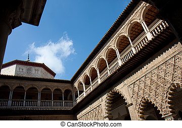 Courtyard of the Damsels, Spain. - Facades of the Courtyard...