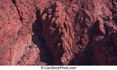 aerial shot of red cliffs and mountains St. George Utah