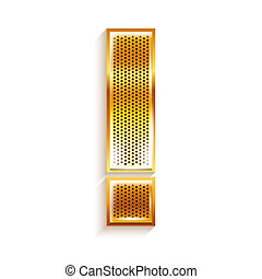 Letter metal gold ribbon Exclamation mark
