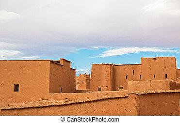 Morocco Kasbah - Wide angle view of Top of Morocco Kasbah...