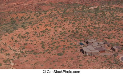 aerial shot of desert mansion