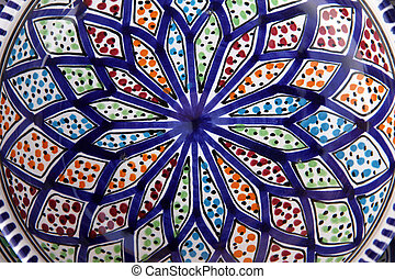 Tunisian colorful oriental pottery, detail
