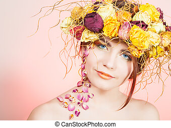 Woman with breath on her head - Beautiful young woman with...