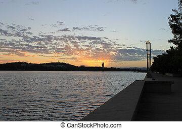 burley, novizio, lago, alba