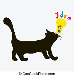 Cat with idea light bulb - funny concept