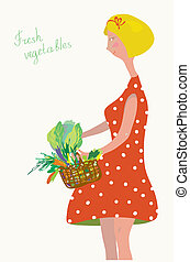 Cute girl with fresh vegetables vintage design