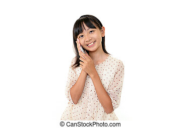 Happy young girl with mobile phone