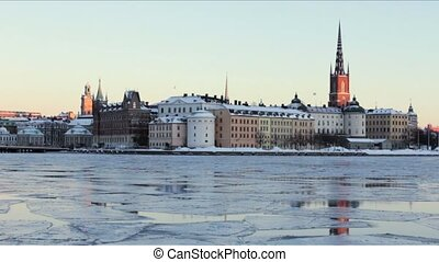 Winter View over Gamla Stan - Sweden, Stockholm. Sunny...