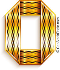 Number metal gold ribbon - 0 - zero - Arabic numeral folded...