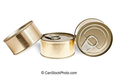 canned food - Pile of cans of conserved food over white...