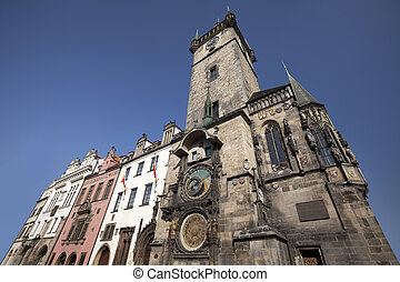 Prague - Old City Hall with famous Astronomical Clock and buildings