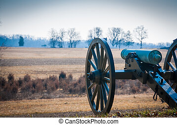 Cannon overlooking field - Photograph of a civil war era...