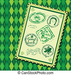 Set of Green grunge rubber stamps