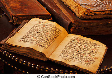 An ancient hand scripted Quran. It is regarded widely as the...