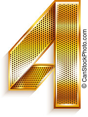 Number metal gold ribbon - 4 - four - Arabic numeral folded...