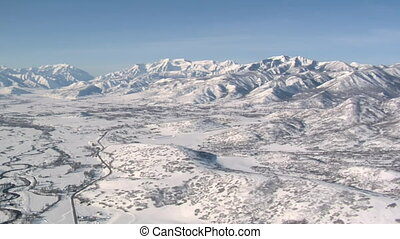 aerial shot of the Heber Valley Utah in winter