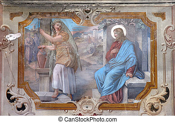 Jesus and a woman of Samaria