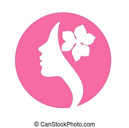 Young woman face profile silhouette -pink icon