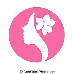 jeune, femme, figure, profil, silhouette