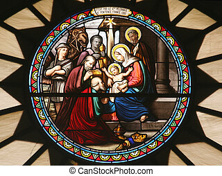 Nativity scene, stained glass, Church of St Catherine,...