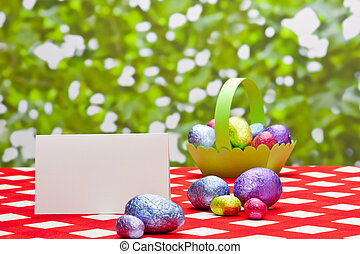 Easter eggs and with place card