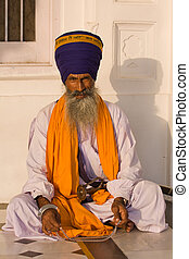 Sikh man in Amritsar, India. - Indian sikh man in turban...