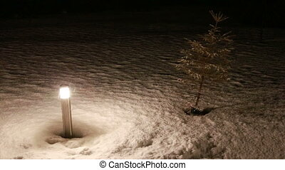 torch in falling snow Full HD