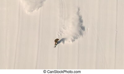 aerial shot of snowboarder