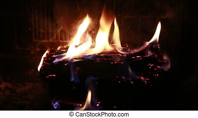 burning fire fireplace night FullHD - burning fire fireplace...