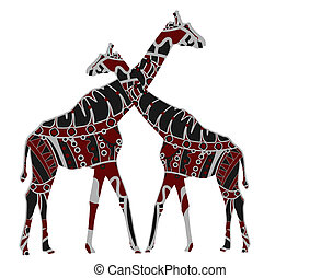 African love - African giraffes in ethnic style on a white...