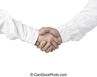 hand shaking - Two human hands in white sleeves doing a...