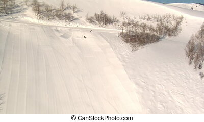 aerial shot of skier and snowboarder