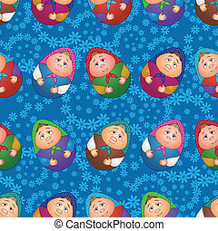 Seamless, dolls and floral pattern - Seamless background,...