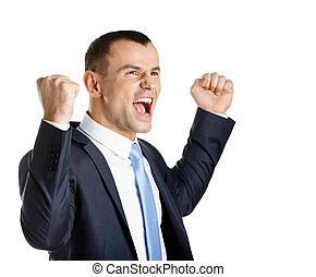 Happy business man with fists up, isolated on white