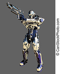 Future Soldier in Metallic Armour - Science fiction space...