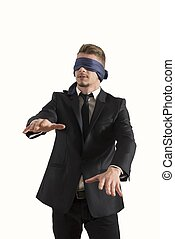 Blind businessman. Concept of difficult in business