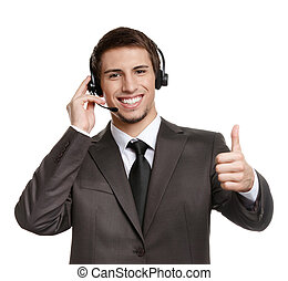Operator with earphones thumbs up - Thumbing up operator...