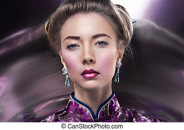 Glamour portrait of beautiful fashion model posing in...