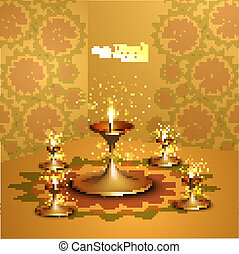 Happy diwali beautiful illuminating Diya vector background