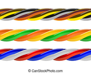 Multicolored computer cable isolated on white