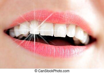 dentes, jovem, mulher, luz, reflexo