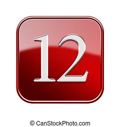 Twelve icon red glossy, isolated on white background