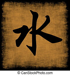 Water Chinese Calligraphy Five Elements Grunge Set
