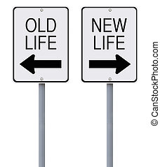 Old And New - Conceptual one way signs on change or choices...