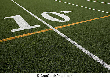 Ten Yard Line - ten yard line on an astroturf football field