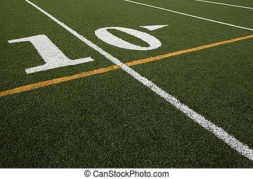 Ten Yard Line - ten yard line on an astroturf football field