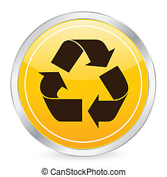 recycle symbol yellow circle icon
